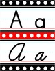 Manuscript & Cursive Alphabet Line - Black, White & Red Polka Dot