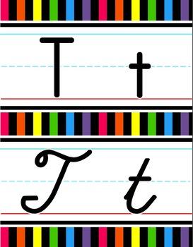 Manuscript & Cursive Alphabet Line - Bright & Black Vertical Stripes