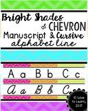 Manuscript & Cursive Alphabet Line - Bright Shades of Chevron
