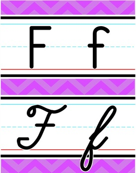 Manuscript & Cursive Alphabet Line - Bright Shades of Chevron