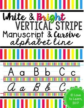 Manuscript & Cursive Alphabet Line - Bright & White Vertical Stripes