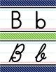Manuscript & Cursive Alphabet Line - Navy & Lime Diagonal Stripe