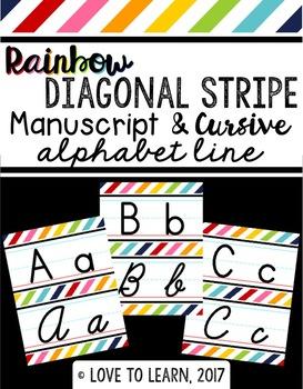 Manuscript & Cursive Alphabet Line - Rainbow Diagonal Stripe