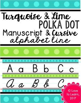 Manuscript & Cursive Alphabet Line - Turquoise & Lime Polka Dot