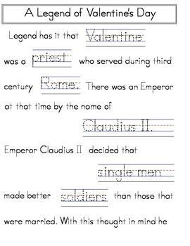Valentines Day Handwriting Worksheets MANUSCRIPT PRINT (Zaner-Bloser)
