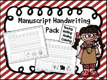 Manuscript Handwriting Pack- Tracing, Writing, Finding, Coloring