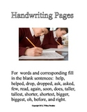 Manuscript Handwriting Pages with Comparative Adjectives & Past Tense Verbs