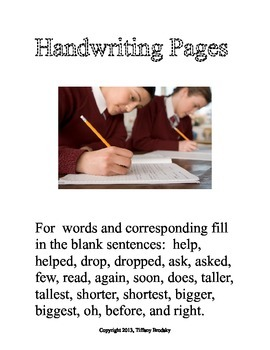 Manuscript Handwriting Pages with Comparative Adjectives &