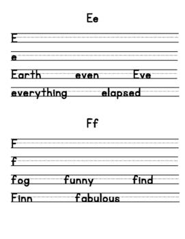 Manuscript Handwriting Practice Sheets