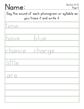 Manuscript Handwriting Practice, Spalding Spelling List, Section A-G