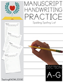 Spalding Spelling List, Section A-G, Manuscript Handwriting Practice