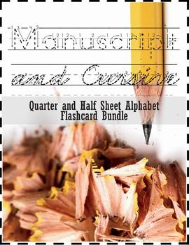 Manuscript Print and Cursive Alphabet Flashcard BUNDLE: Qu