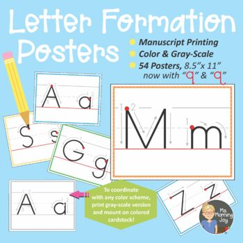 Manuscript Printing Letter Formation Posters for Pre-K thr