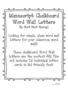 Manuscript Word Wall Letters