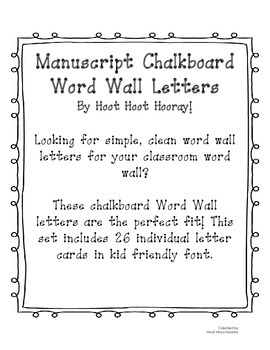 Manuscript Word Wall Letters