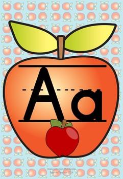 Manuscript and Cursive Alphabet Posters   Set A 1.1   Apple Themed