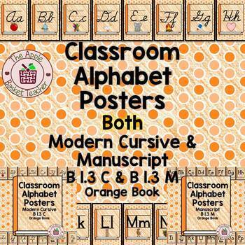 Manuscript and Cursive Alphabet Posters | Set B 1.3 | Orange Crayon Books