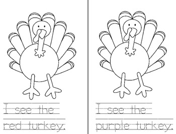 Many Colored Turkeys {FREE sight word book}