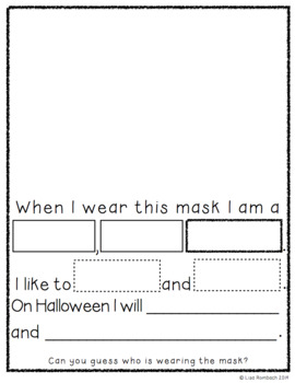Many Masks Cloze Sentence writing activity for beginning writers
