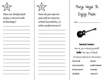 Many Ways to Enjoy Music Trifold - Wonders 2nd Grade Unit 3 Week 5