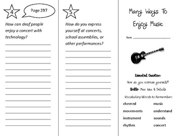 Many Ways to Enjoy Music Trifold - Wonders 2nd Grade Unit 3 Week 5