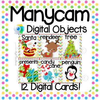 Manycam Objects: 12 Digital Christmas Vocab Flashcards ESL ELL VIPKid DadaABC
