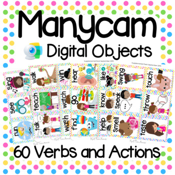 Manycam Objects: Action Verb Flashcards for Teaching English Online