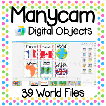 Manycam Objects: Countries and Flags Flashcards for Teaching English Online