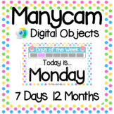 Manycam Objects: Days and Months Flashcards for Teaching English Online