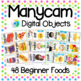 Manycam Objects: Food Flashcards for Teaching English Online