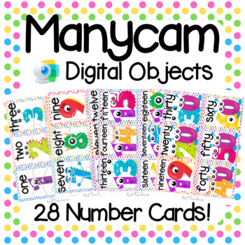 Manycam Objects: Numbers Flashcards for Teaching English Online