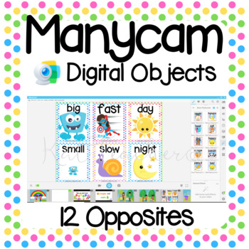 Manycam Objects: Opposites Flashcards for Teaching English Online