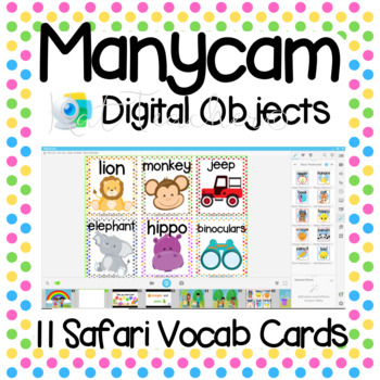Manycam Objects: Safari and Zoo Animals Flashcards for Teaching English Online