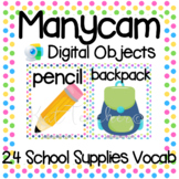 Manycam Objects: School Supplies Flashcards for Teaching English Online