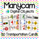 Manycam Objects: Vehicles Transportation Flashcards for Teaching English Online