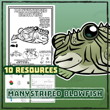 Manystriped Blowfish -- 10 Resources -- Coloring Pages, Reading & Activities