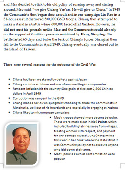 Mao's Rise to Power in China - 12-page full lesson (notes, journalist activity)