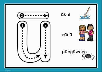 Maori Alphabet Playdough Mats with letter formation cues