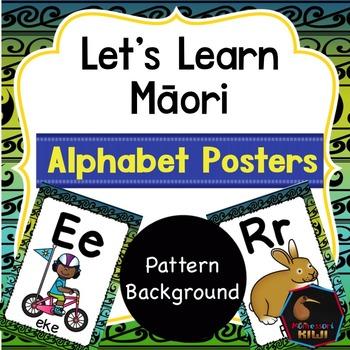 Maori Alphabet Posters - Kōwhaiwhai background