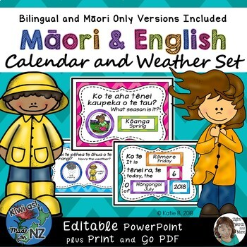 Maori / English Daily Calendar and Weather Set EDITABLE