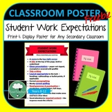 Student Work Quality Expectations Poster - Secondary Poster Any Subject