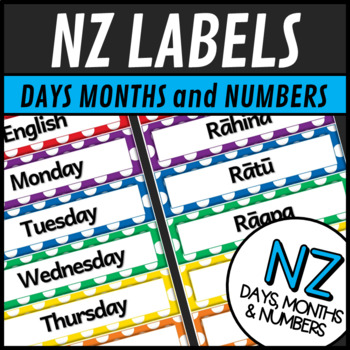 Maori Language Labels Days Months and Numbers