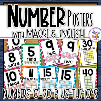 New Zealand Maori (with Maori and English) Number 0-20 Posters