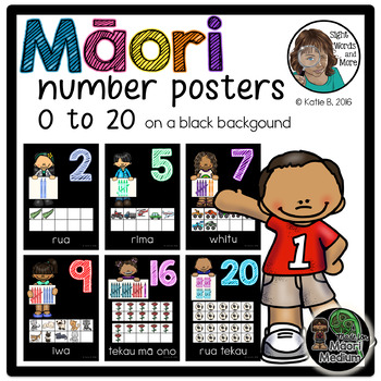 Maori Number Posters 0 to 20 on a black background