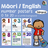 Maori English Bilingual Number Posters 0 to 20 on a white background