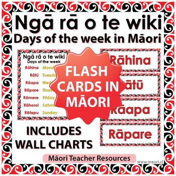 Maori days of the week Flash Cards / Wall Charts