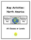 Map Activities:  North America