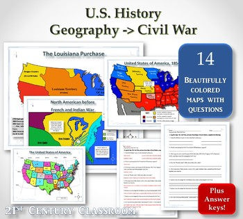 Map Activities For Us History By 21st Century Classroom Tpt - War-between-the-states-us-history-map-activities