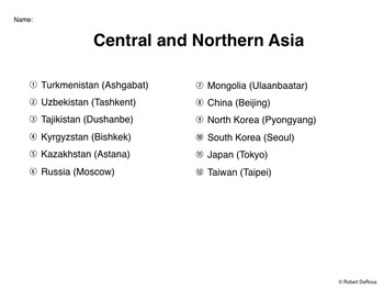 Perfect Central And Northern Asia   Mapping Activity