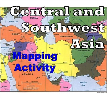 Central And Southwest Asia Middle East Mapping Activity TpT - Central asia political map